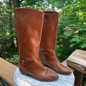 80's style knee high leather boots